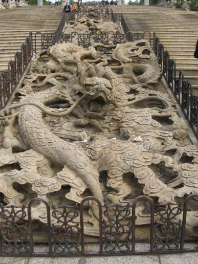 One of the 9 carved dragons at Baolin Temple