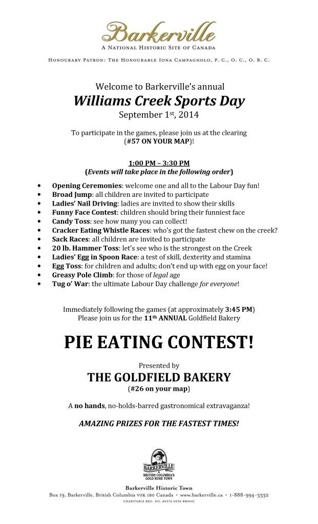2014 Williams Creek Sports Day and Goldfield Barkery Pie Eating Contest