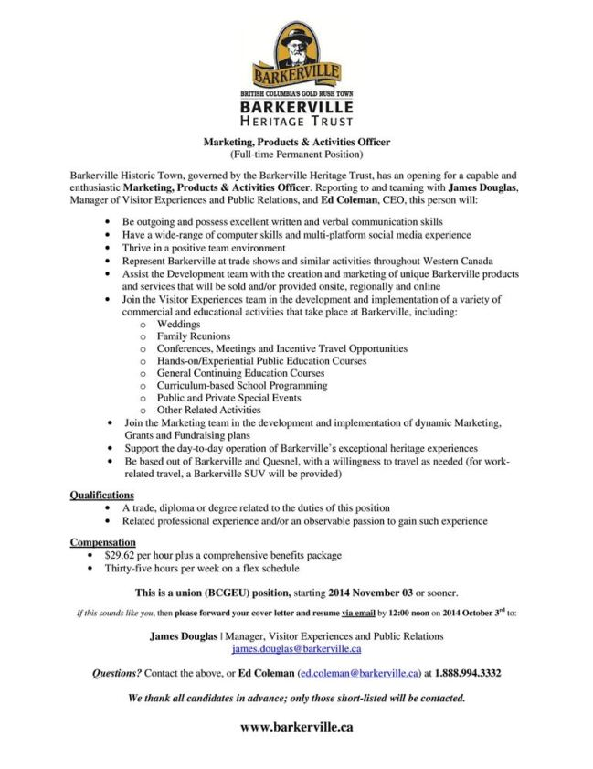 Marketing Products  Activities Officer Posting Sept 2014