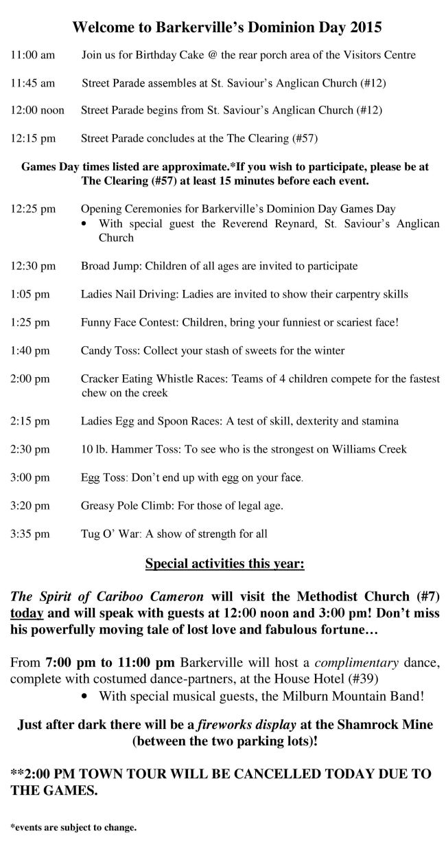Dominion Day 2015 Itinerary