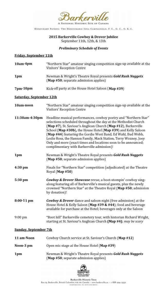2015 Barkerville Cowboy & Drover Jubilee Preliminary Schedule