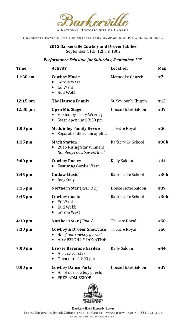 2015 Barkerville Cowboy & Drover Jubilee Saturday Performance Schedule